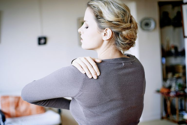 Tendonitis woman with shoulder pain