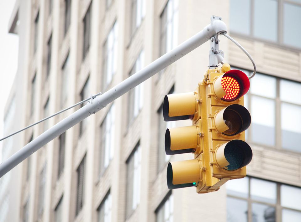 Traffic light showing red light 'stop' light