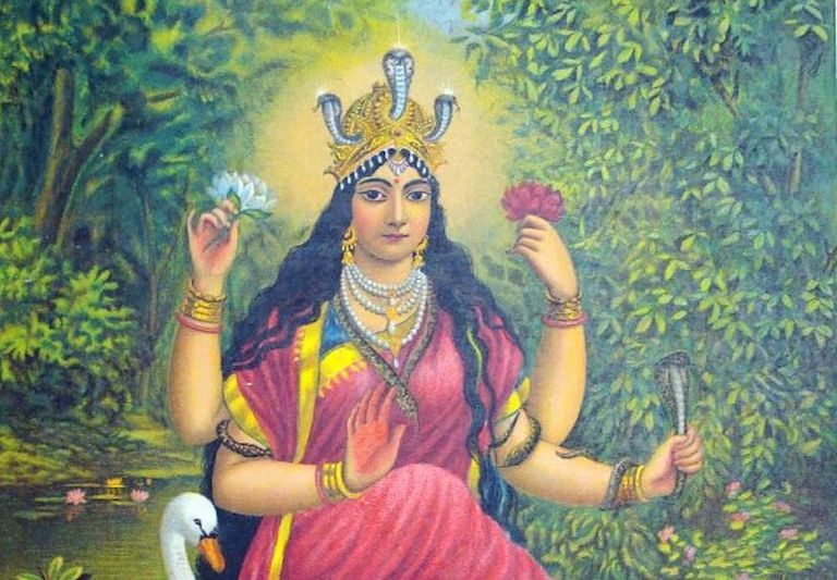 The goddess Manasa in a dense jungle landscape with a cobra and a swan.