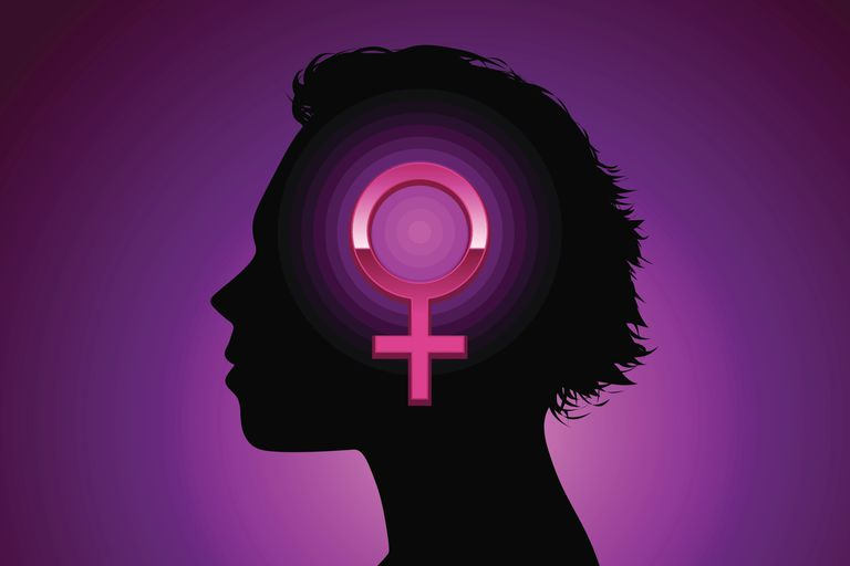 Woman with feminist symbol
