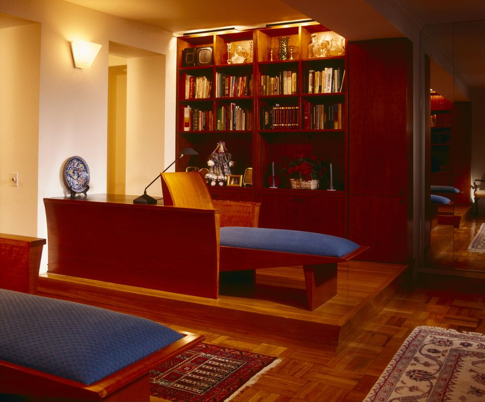 Home Library with Sconce Lighting