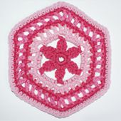Crocheted Granny Hexagon Motif With a Flower in the Center