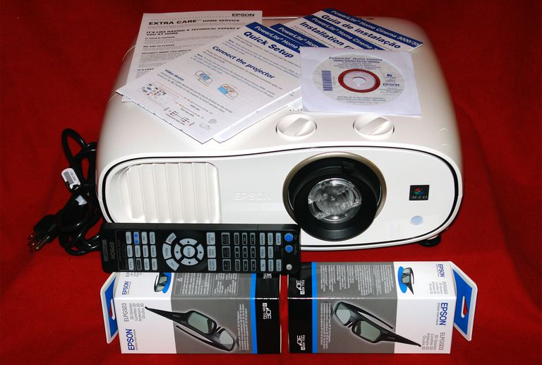 Epson PowerLite Home Cinema 3500 Video Projector - Front View with Included Accessories