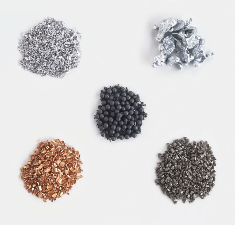 Many familiar metals are transition metals, including copper, lead, zinc, and iron. The metals vary in color, but share similar properties.