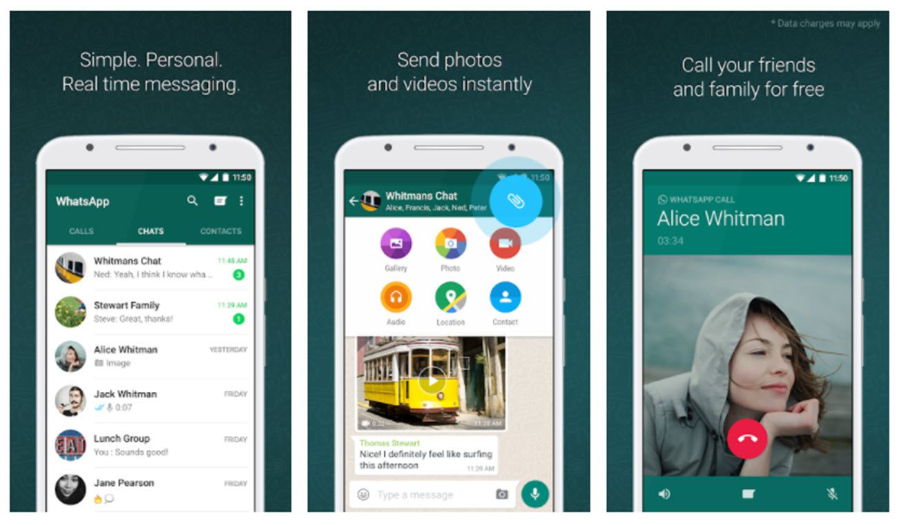 Screenshots of the WhatsApp app for messaging and video calling.