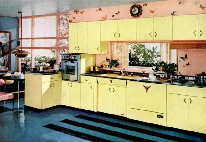 1950s house interior.  Kitchen Trends Introduced In The 1950s