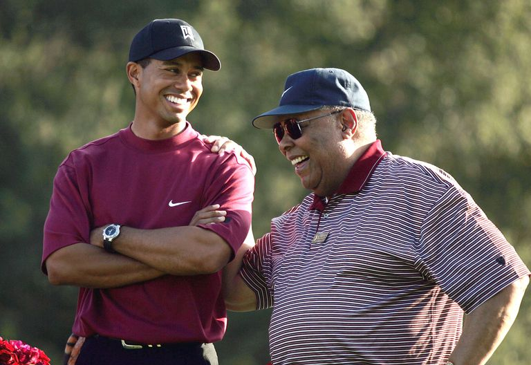 Tiger Woods and his father Earl photographed in 2004