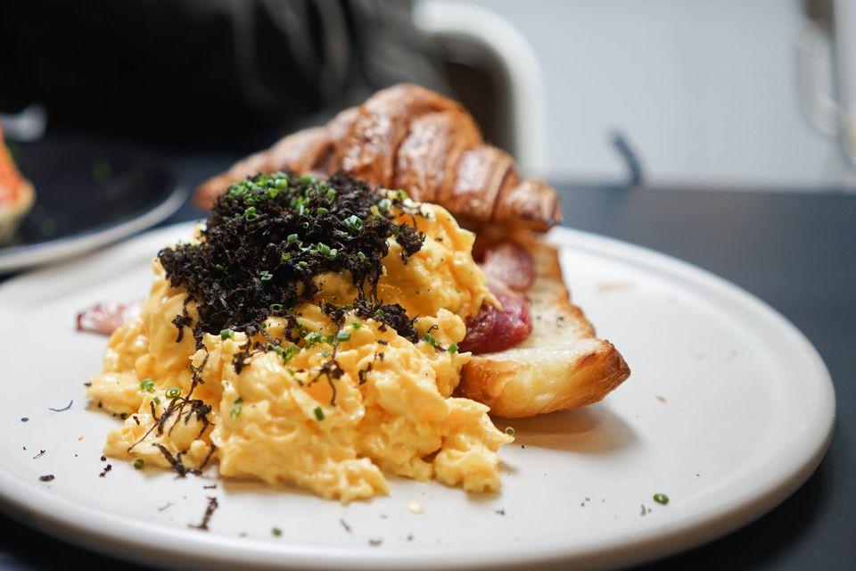 Eggs and black truffles