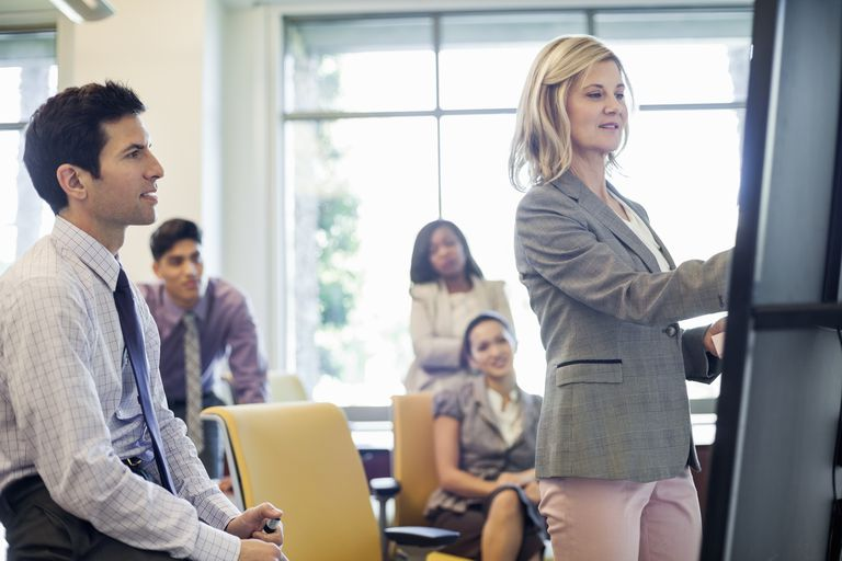 Businesswoman presenting to colleagues in boardroom