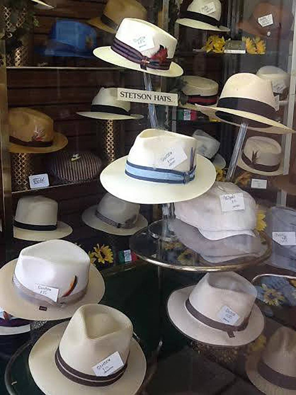 A display of summertime Stetsons at Bencraft Hats