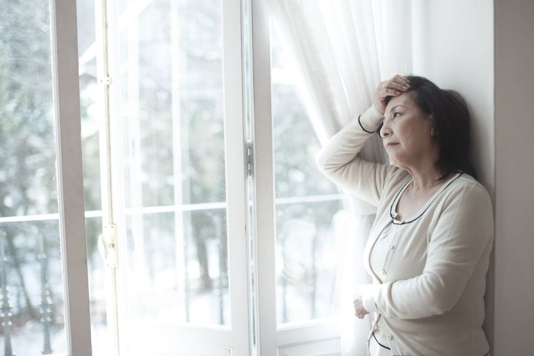 Anxious older woman