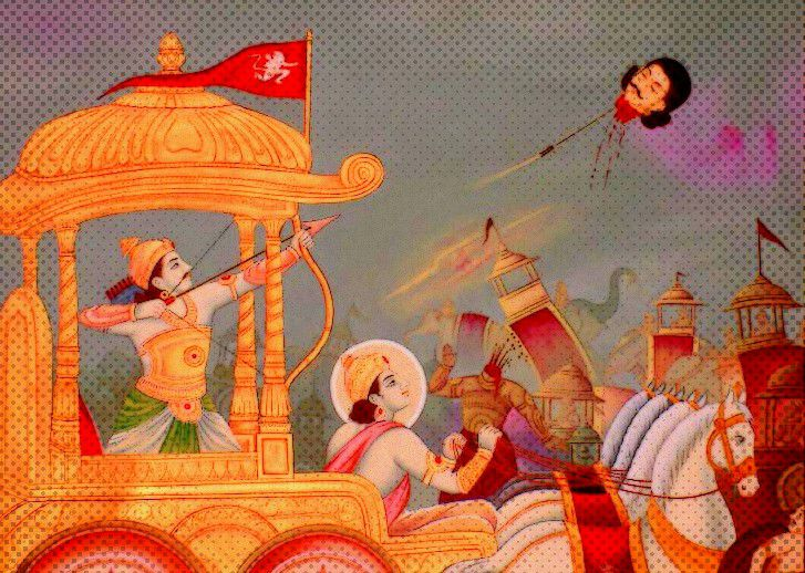 Arjuna and Krishna as Worriers in the Battle of Kurukshetra - A Scene from 'The Mahabharata'