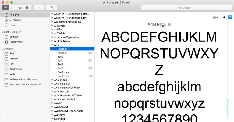 Font Book preview