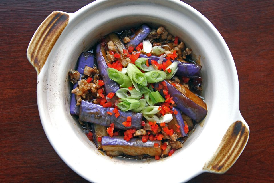 Chinese cuisine, braised eggplant over pork