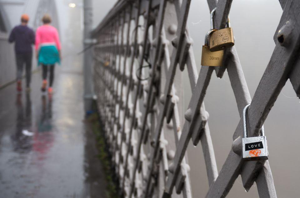 Love locks on Barnes Railway Bridge