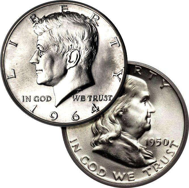 Examples of Kennedy and Franklin half dollars.
