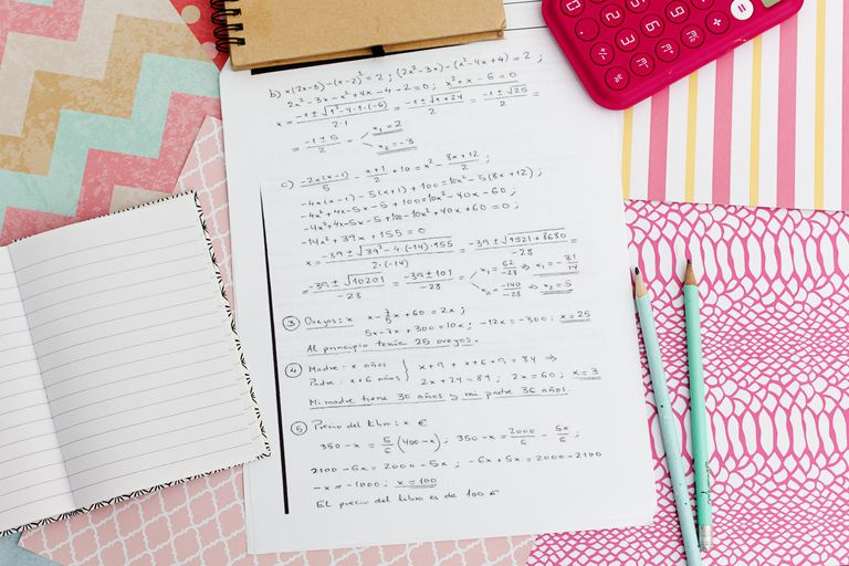 notebook and math problems