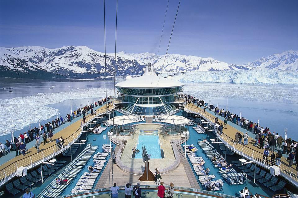 Cruis ship, Cruiser Rhapsody of the Sea, near Hubbard Glacier, Glacier Bay, Alaska, USA