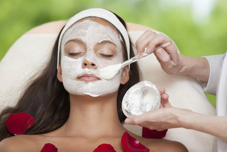 Young Natural Relaxing Beauty Having Moistening Mask Applied