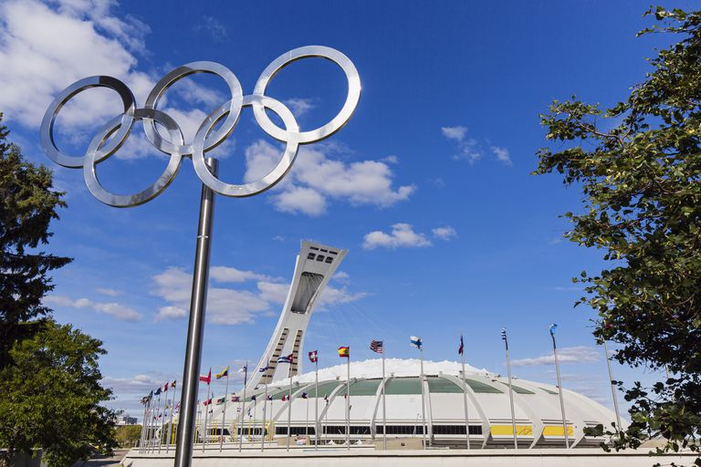 Montreal, Olympic Park, the Olympic rings and the stadium dating from the Summer Olympics 1976