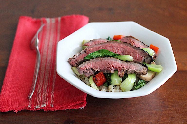 Flank steak in miso sauce veggies