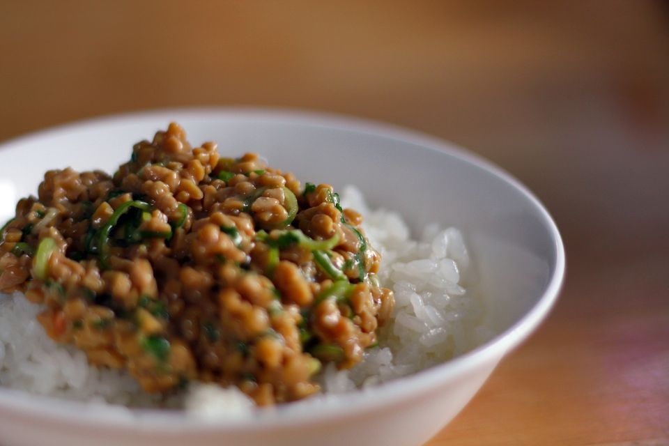A bowl of natto over rice