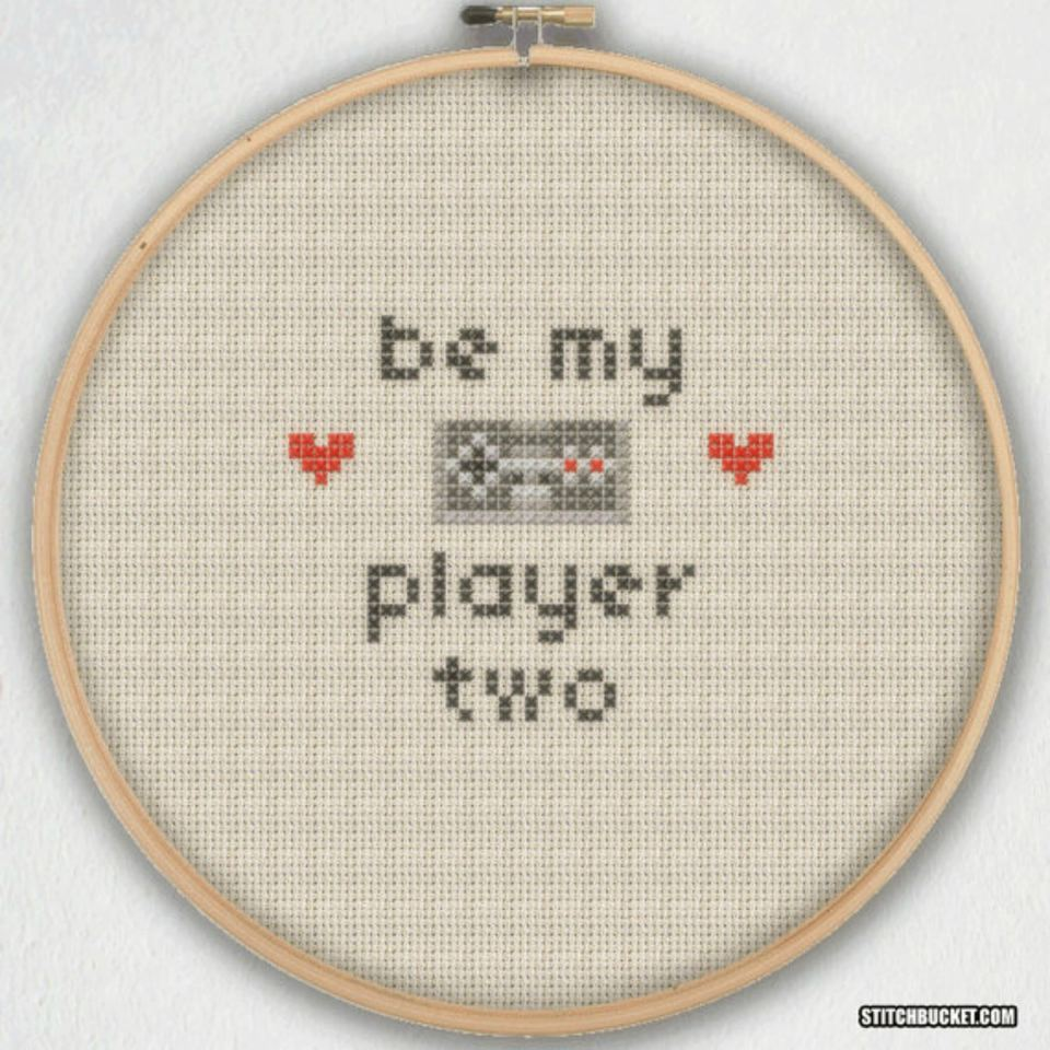 Wedding cross stitch patterns ideas and gifts you want to pop the question but you want to do it in a spectacular way grab your floss and stitch up this geeky proposal solutioingenieria Choice Image