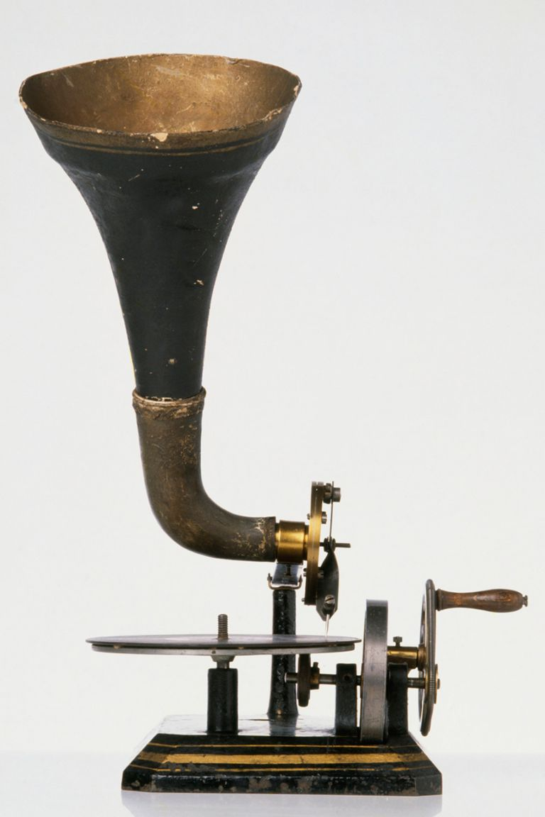 Horn gramophone, late 19th century
