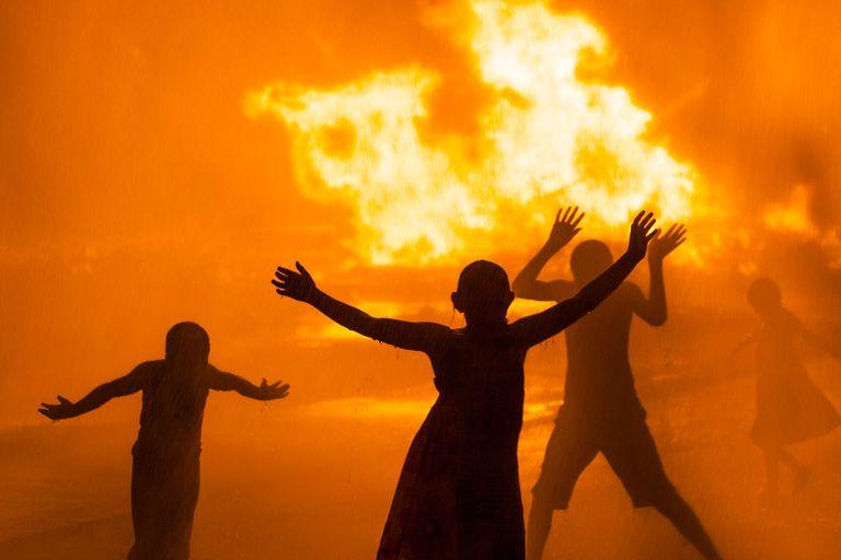 Dancing around fire