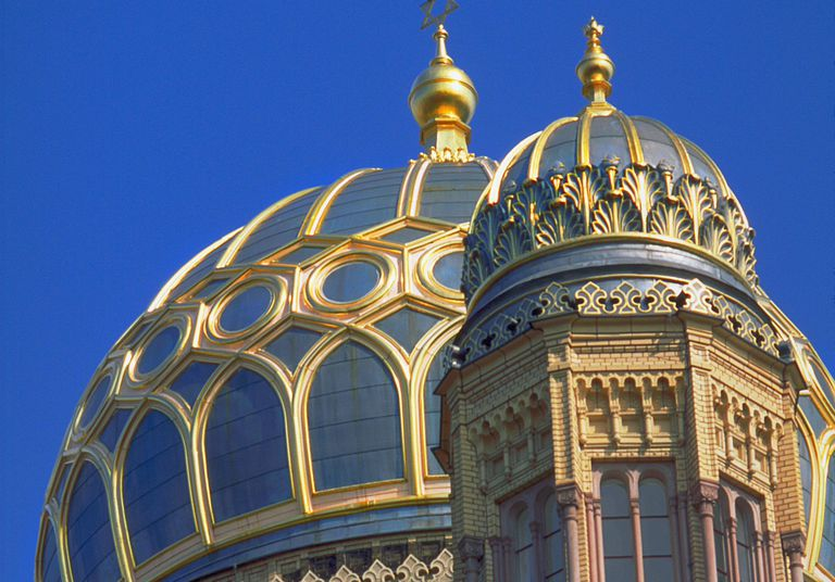 Blue and Gold domes of Neue Synagogue in the Scheunenviertel District (Barn Quarter), Berlin's once large Jewish district