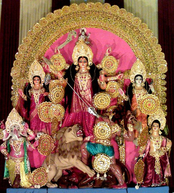 Icon of Goddess Durga along with her four children