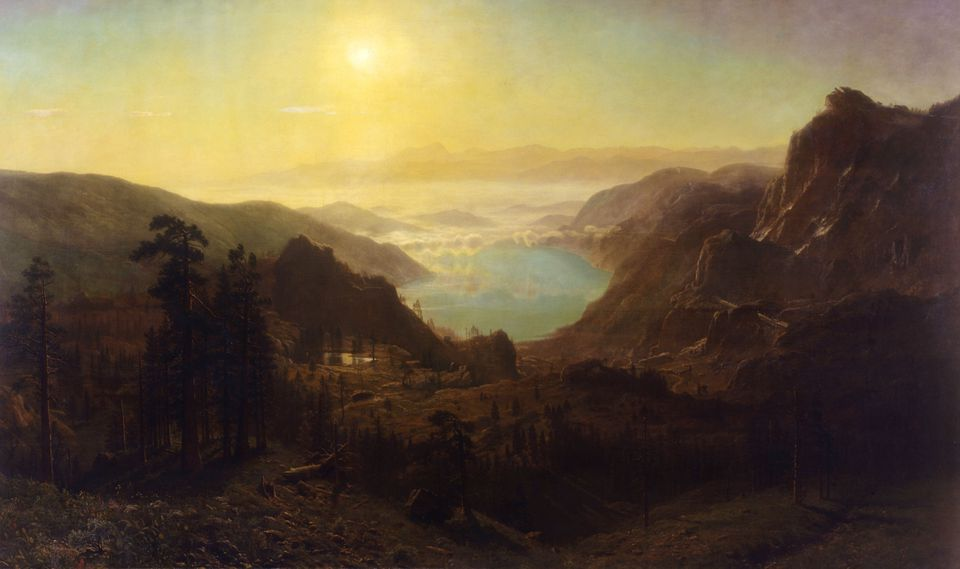 """""""Donner Lake from the Summit"""" (1873) by Albert Bierstadt"""