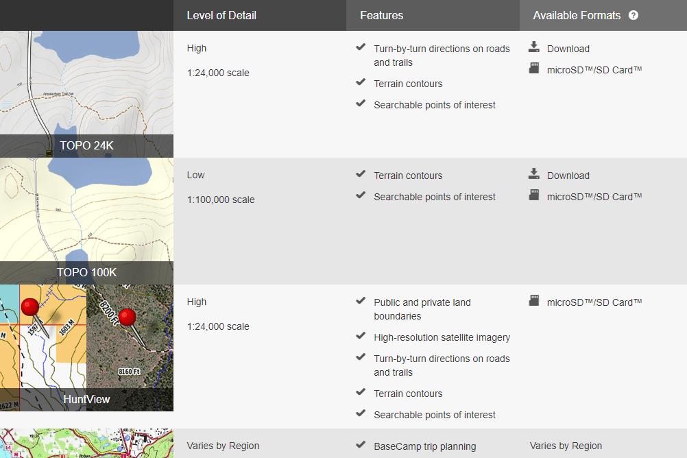 Screenshot of the Garmin outdoor maps page