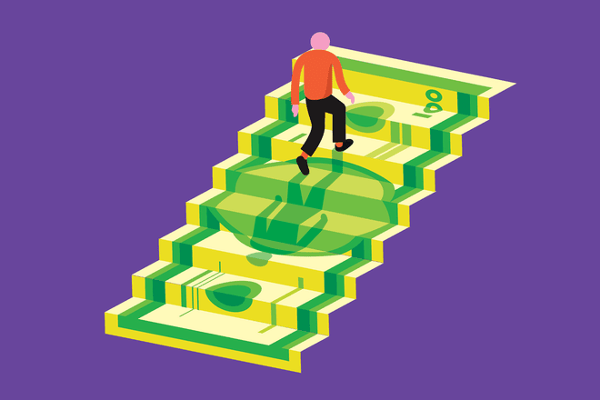 Man climbing up money stairs