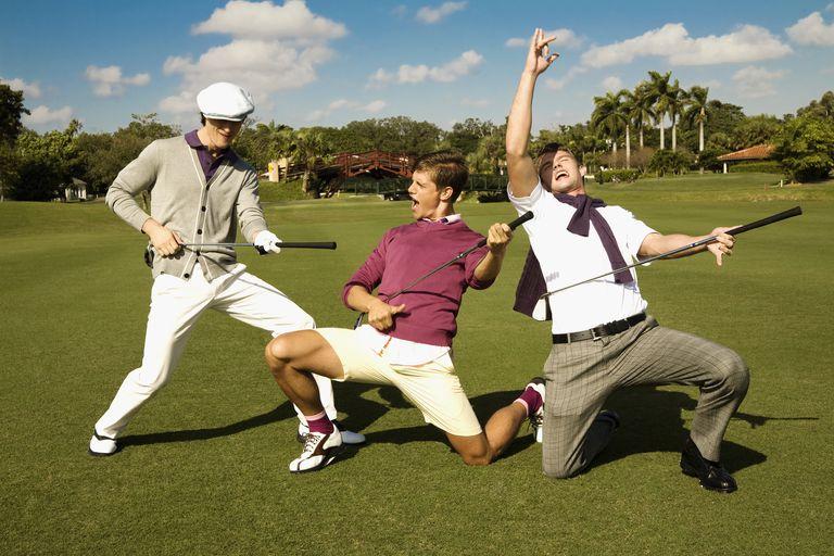 Three friends having fun in a golf course,Biltmore Golf Course,Coral Gables,Florida,USA