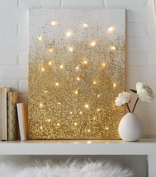 glitter canvas with lights