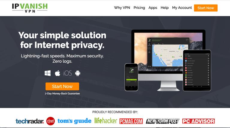 Screnshot of the IPVanish home page