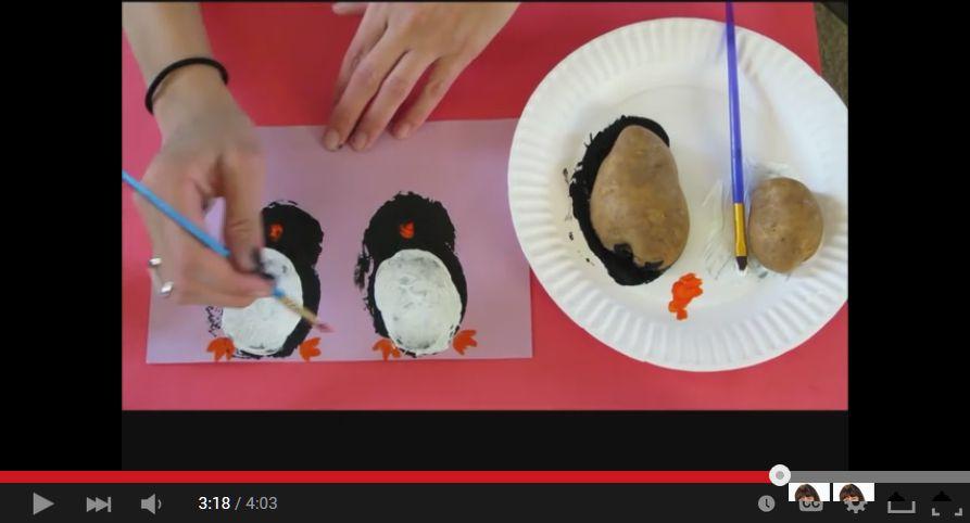 potato stamp penguins
