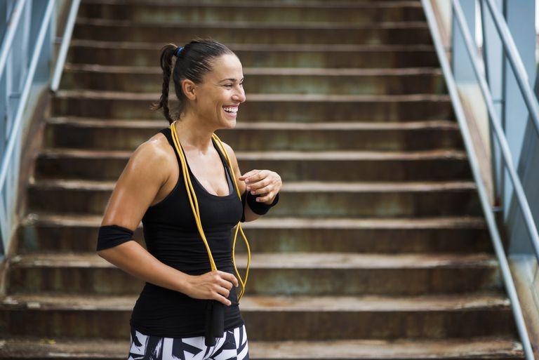 Girl smiling after hard workout