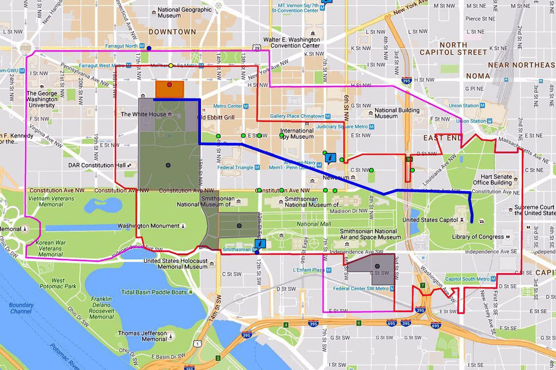 2017 Inaugural Parade Route Map Washington