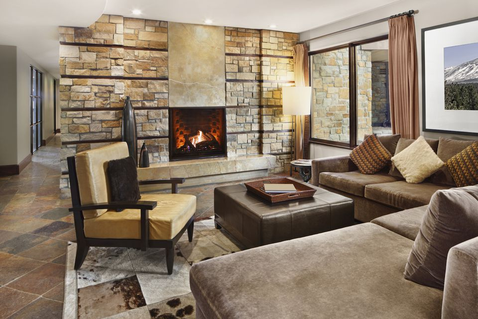 winter home staging fireplace