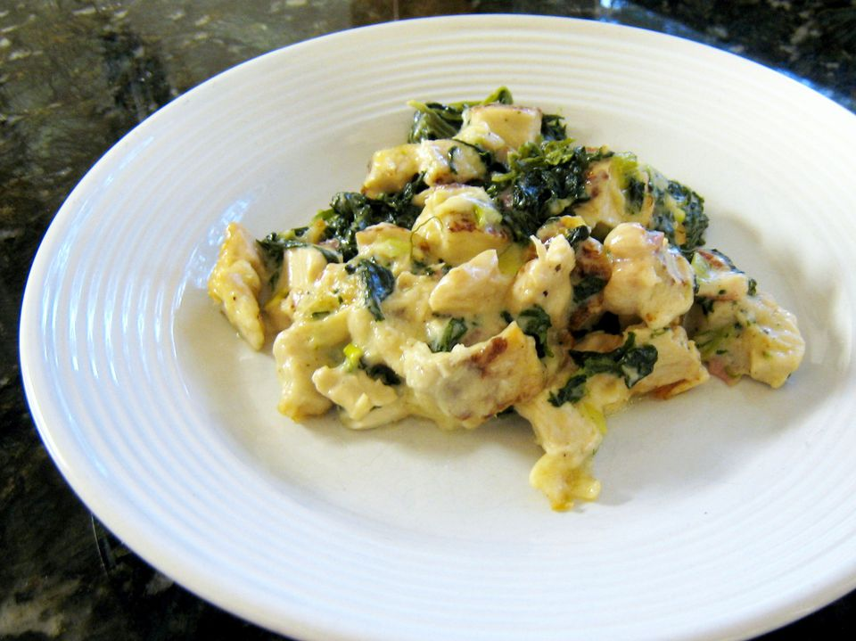 Chicken and Spinach Casserole on Noodles