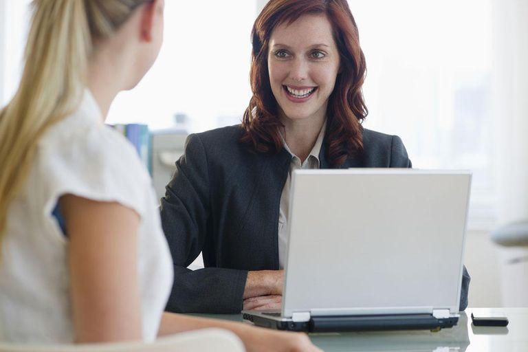 Two businesswomen meeting