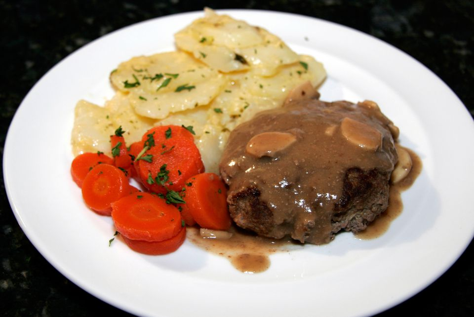 Au Gratin Potatoes With Hamburger Steaks