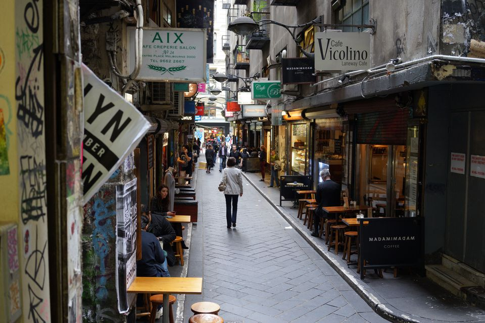 street view in Melbourne - a small alley of restaurants