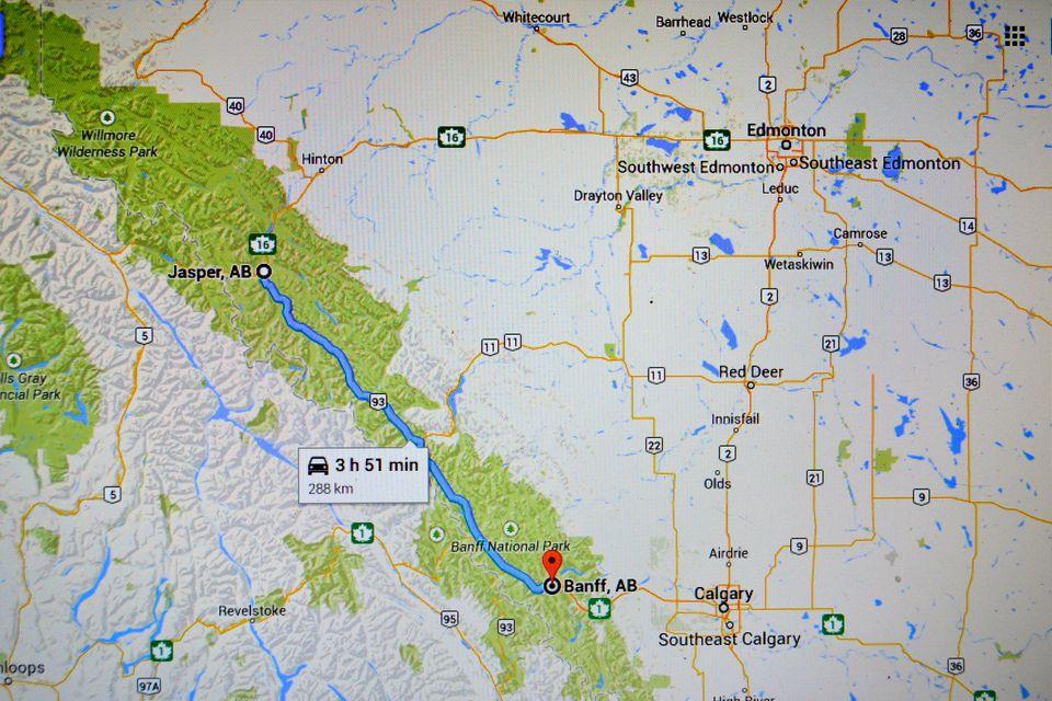Banff to Jasper map
