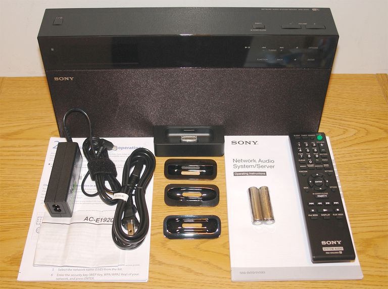 Sony NAS-SV20i Network Audio System/Server - Front View with Accessories