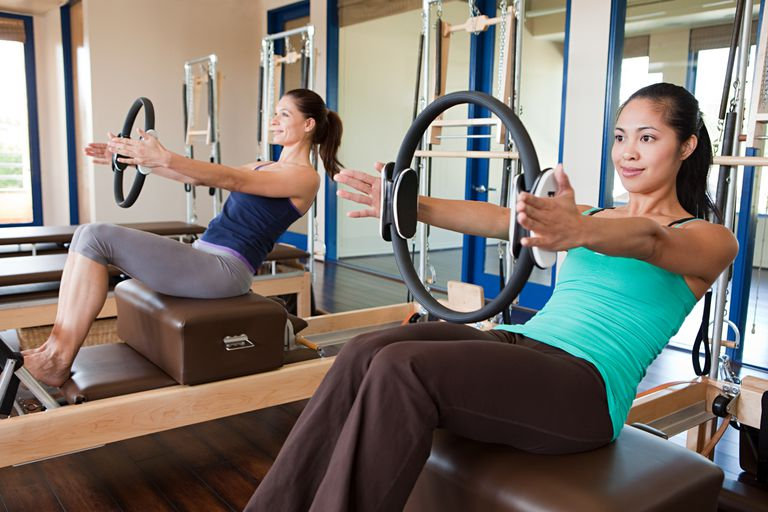 Two women doing pilates with magic circles in the gym