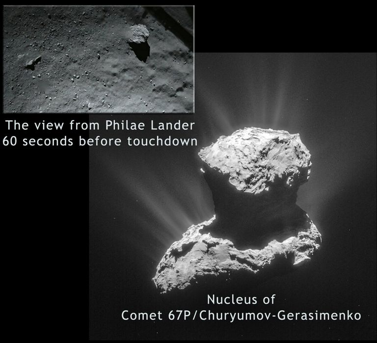 closeup of comet nucleus and inset