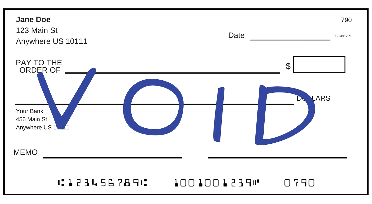 void check bank of america